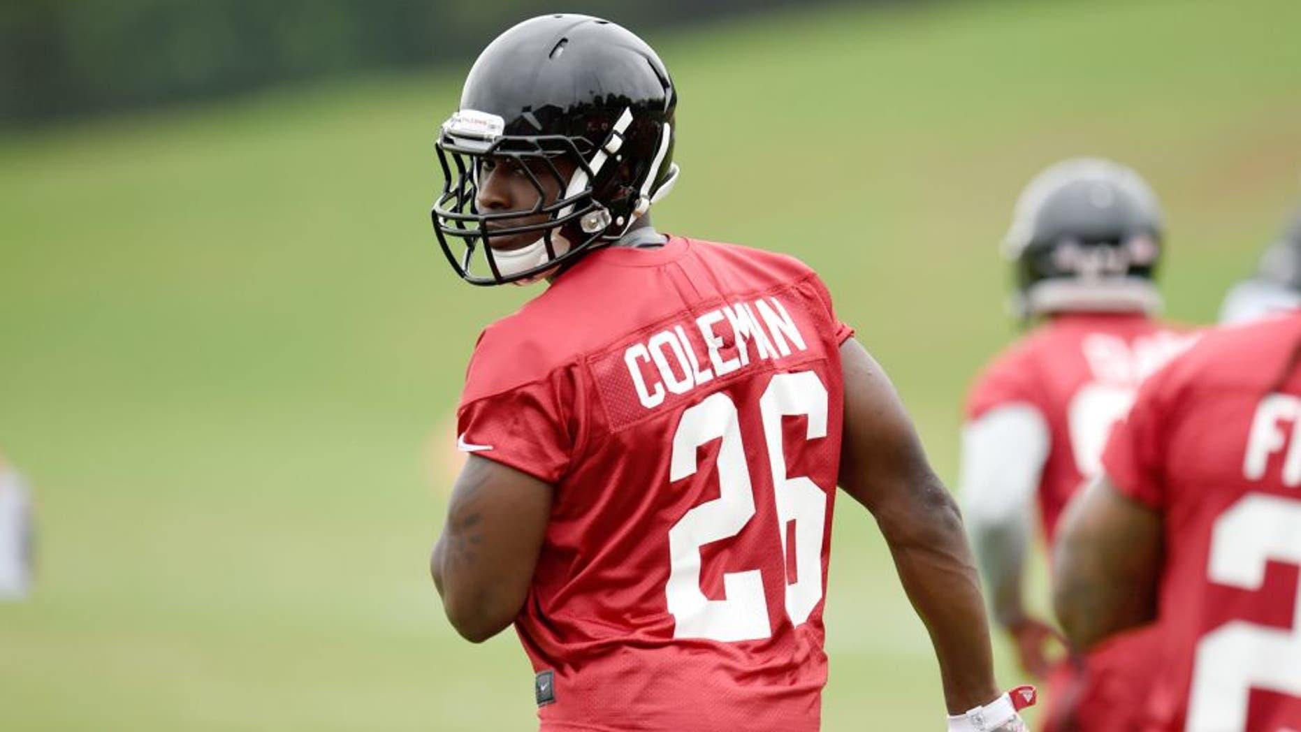 May 26, 2015; Atlanta, GA, USA; Atlanta Falcons running back Tevin Coleman (26) on the field during OTA at Falcons Training Facility. Mandatory Credit: Dale Zanine-USA TODAY Sports