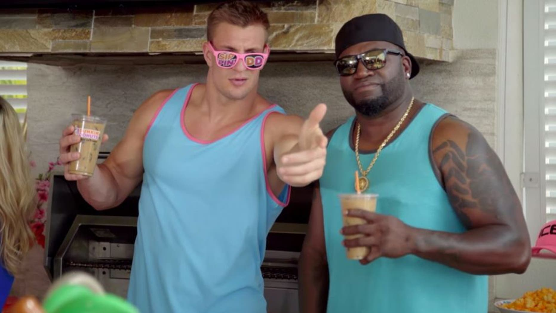 David Ortiz and Rob Gronkowski starred in a new commercial for Dunkin Donuts.