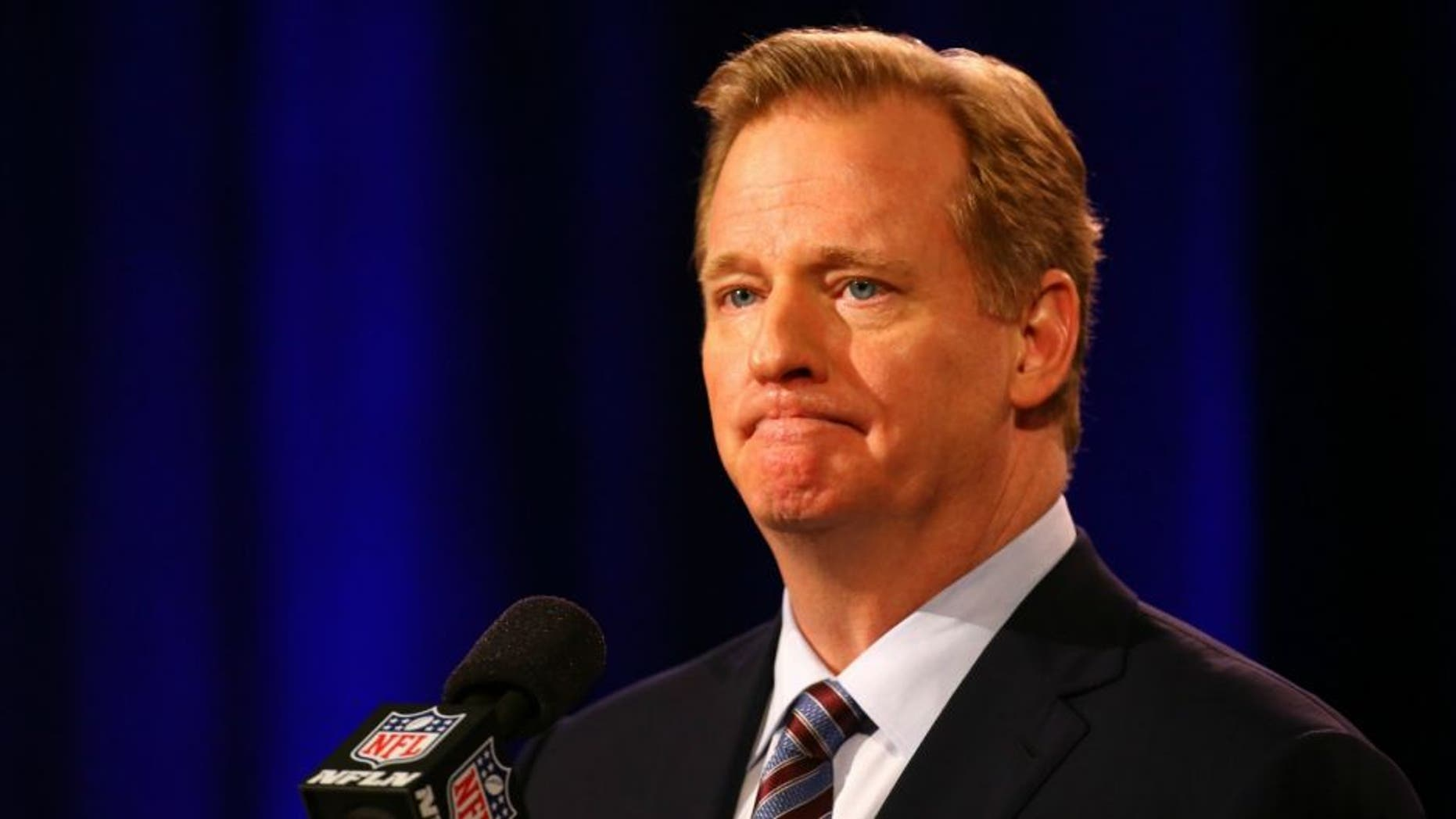 NFL Commissioner Roger Goodell speaks during a press conference prior to the upcoming Super Bowl XLIX at Phoenix Convention Center on January 30, 2015 in Phoenix, Arizona.