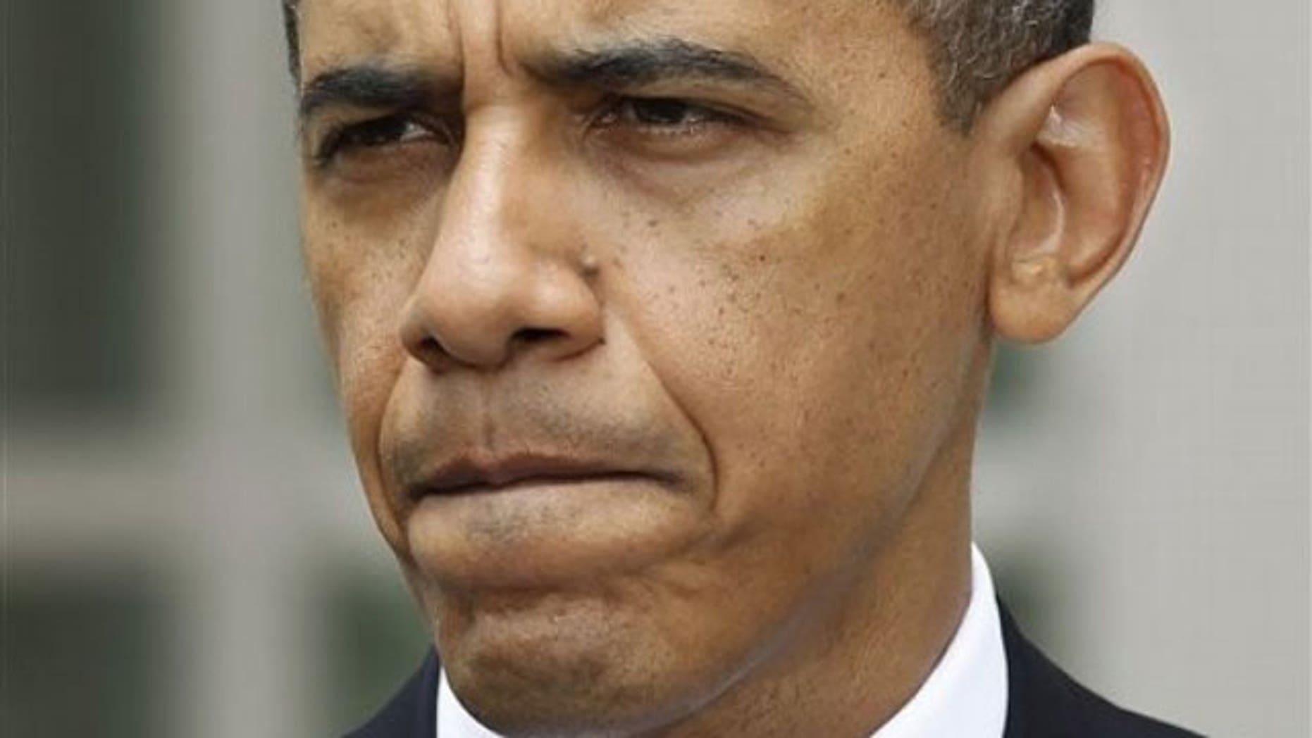 June 1: President Obama speaks in the Rose Garden of the White House in Washington (AP).