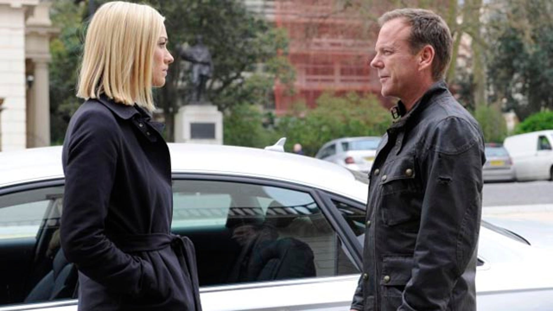 Jack Bauer (Kiefer Sutherland) discusses his plans with Kate Morgan (Yvonne Strahovski, L) on 24:  LIVE ANOTHER DAY (Daniel Smith/FOX)