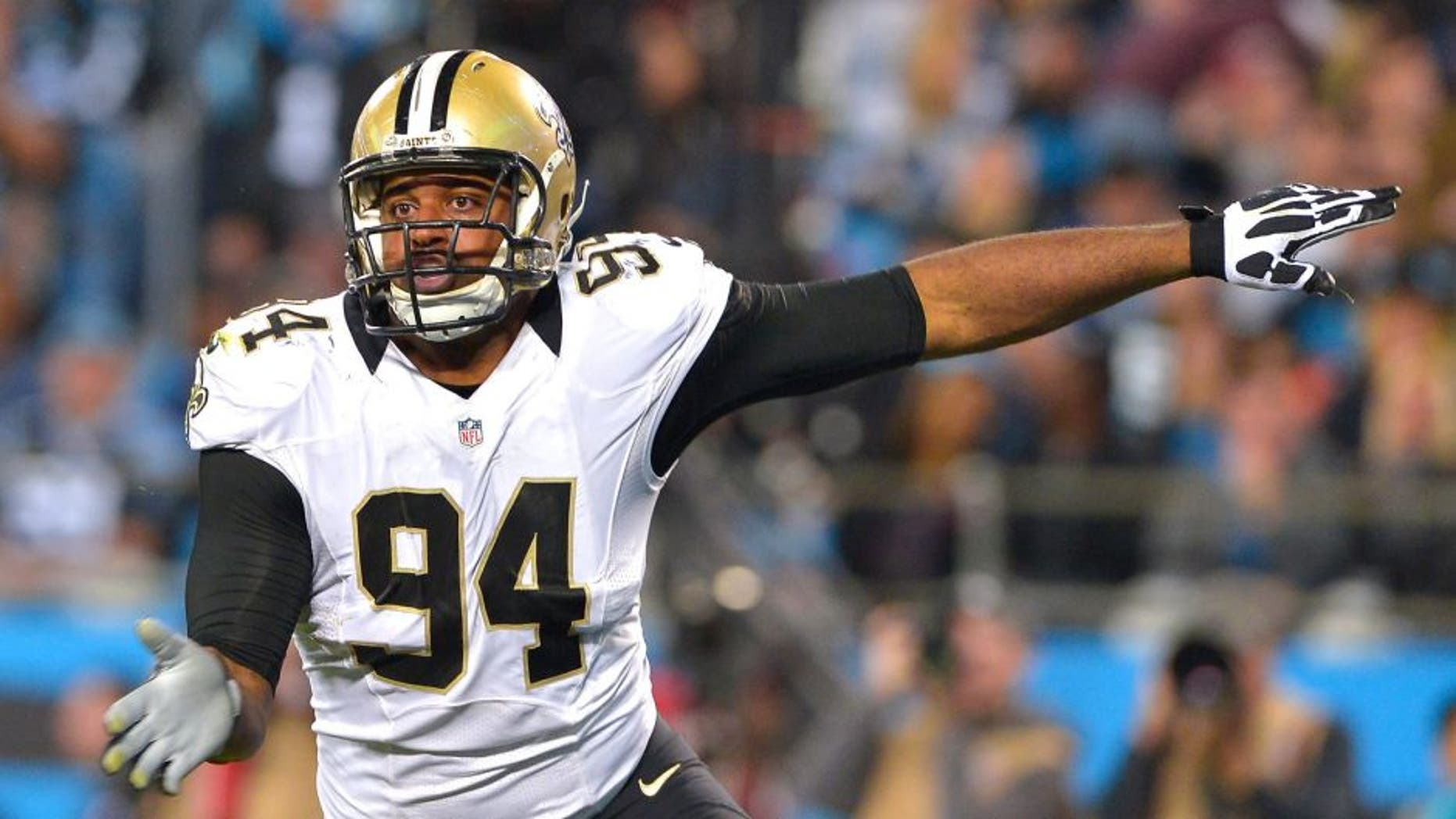 CHARLOTTE, NC - OCTOBER 30: Cameron Jordan #94 of the New Orleans Saints pass rushes against the Carolina Panthers during their game at Bank of America Stadium on October 30, 2014 in Charlotte, North Carolina. The Saints won 28-10. (Photo by Grant Halverson/Getty Images)