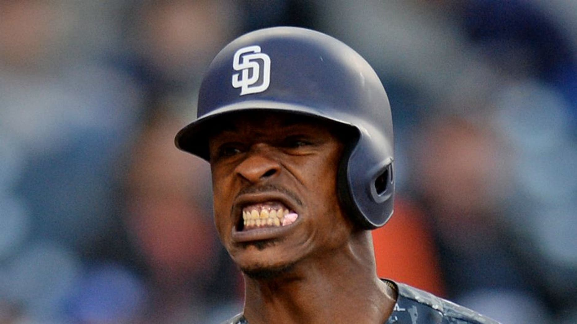 May 22, 2016; San Diego, CA, USA; San Diego Padres left fielder Melvin Upton Jr. (2) reacts during a 16th inning at bat against the Los Angeles Dodgers at Petco Park. Mandatory Credit: Jake Roth-USA TODAY Sports