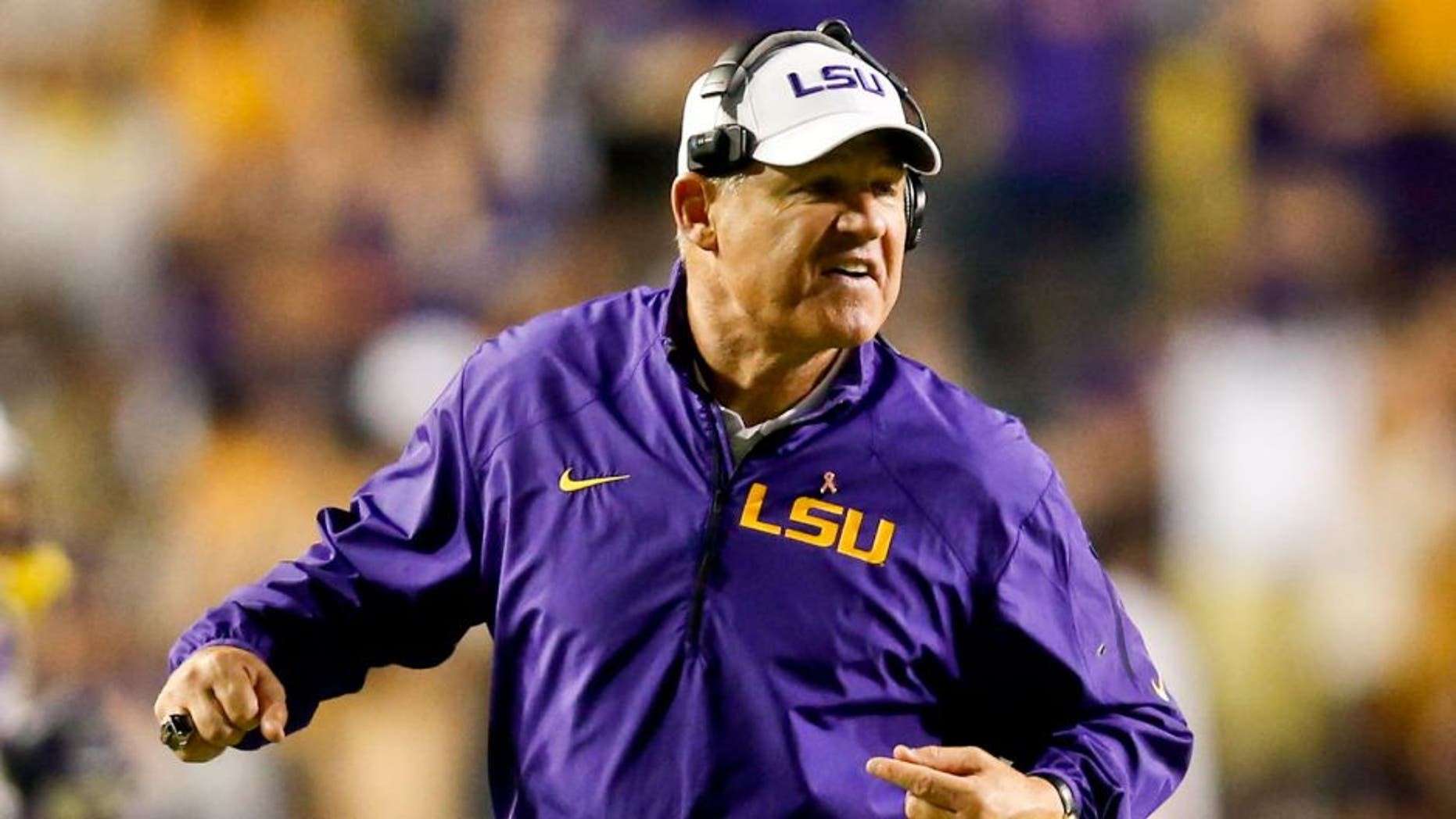 Oct 26, 2013; Baton Rouge, LA, USA; LSU Tigers head coach Les Miles against the Furman Paladins during the second half of a game at Tiger Stadium. LSU defeated Furman 48-16. Mandatory Credit: Derick E. Hingle-USA TODAY Sports