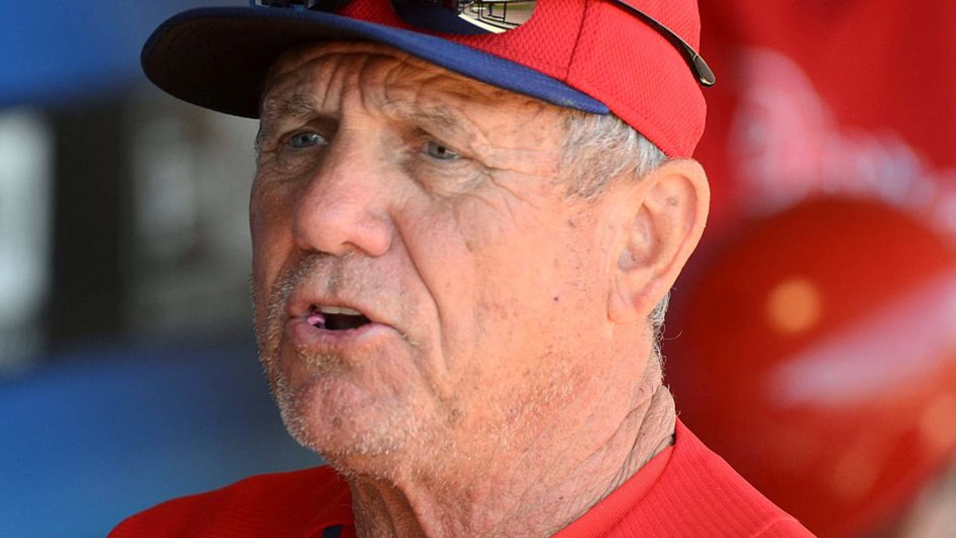 Feb 28, 2014; Clearwater, FL, USA; Philadelphia Phillies Larry Bowa talks with the players before the game against the Detroit Tigers at Bright House Field. Mandatory Credit: Jonathan Dyer-USA TODAY Sports