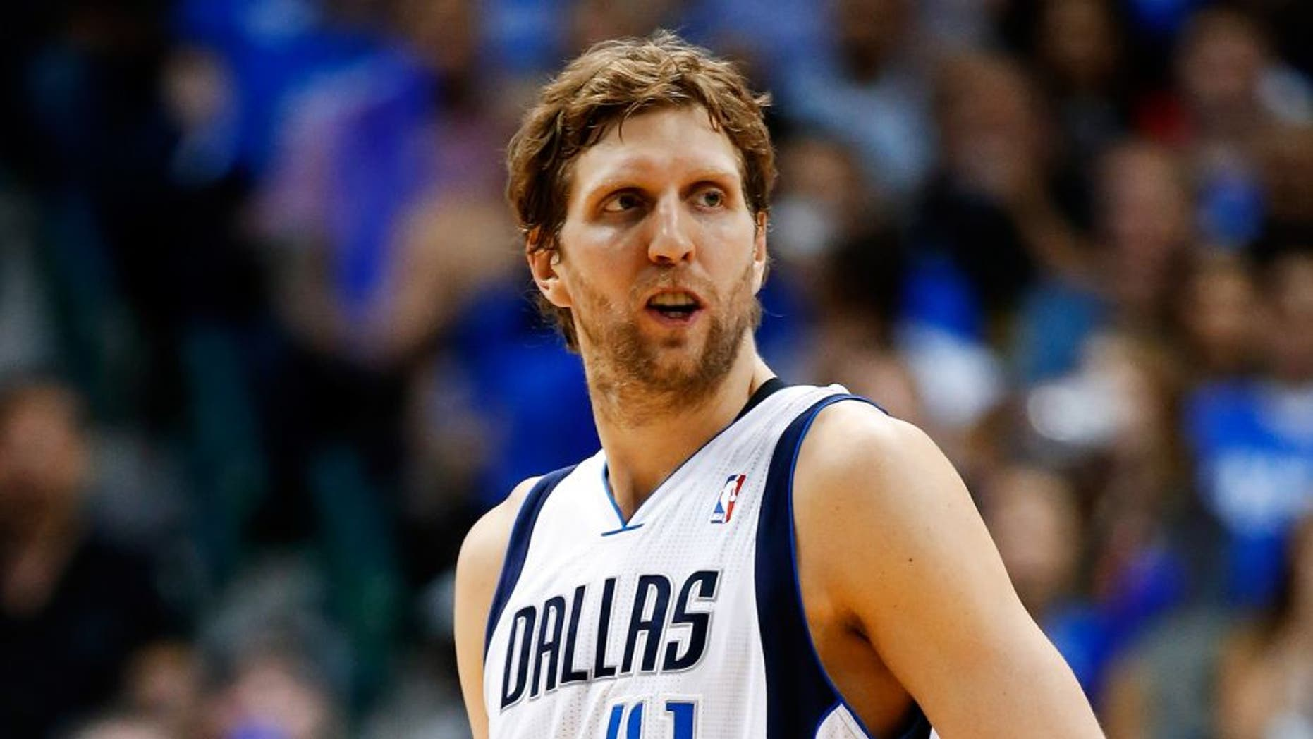 May 2, 2014; Dallas, TX, USA; Dallas Mavericks forward Dirk Nowitzki (41) during the game against the San Antonio Spurs in game six of the first round of the 2014 NBA Playoffs at American Airlines Center. Dallas won 113-111. Mandatory Credit: Kevin Jairaj-USA TODAY Sports