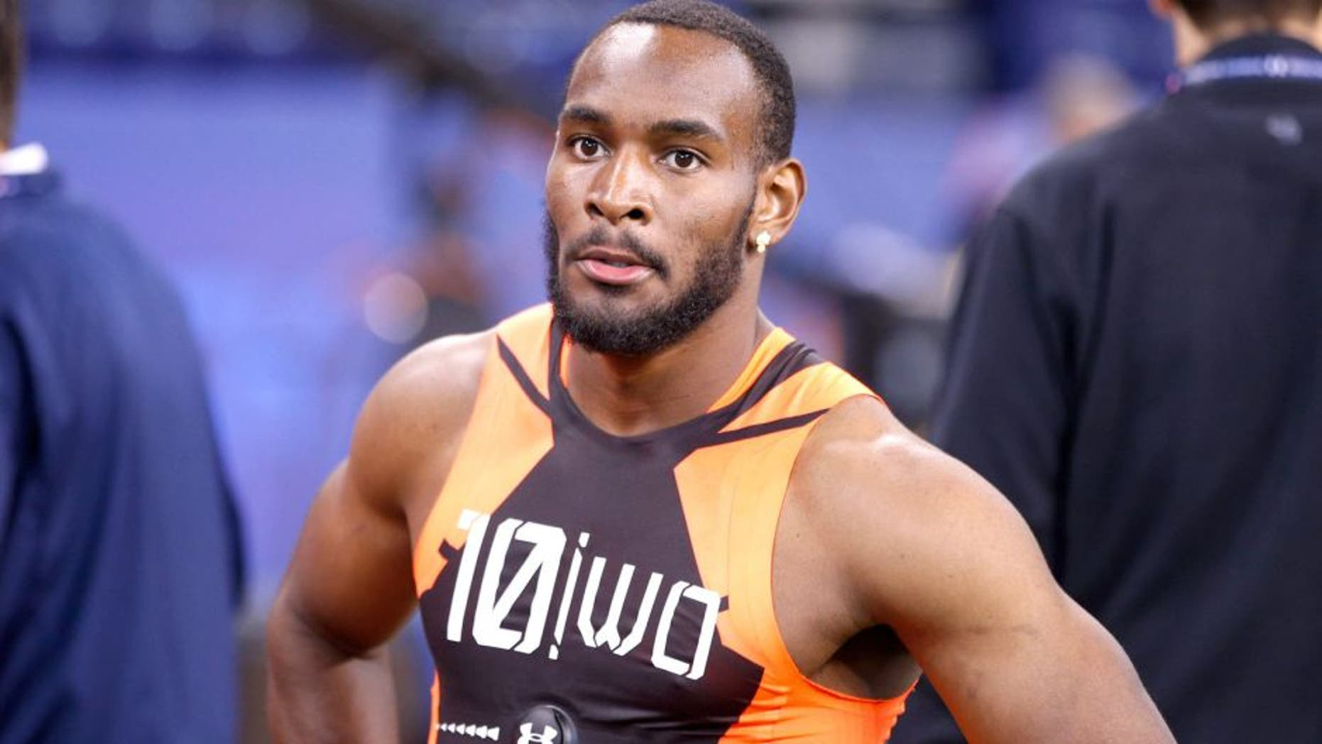INDIANAPOLIS, IN - FEBRUARY 21: Wide receiver Jamison Crowder of Duke looks on during the 2015 NFL Scouting Combine at Lucas Oil Stadium on February 21, 2015 in Indianapolis, Indiana. (Photo by Joe Robbins/Getty Images)
