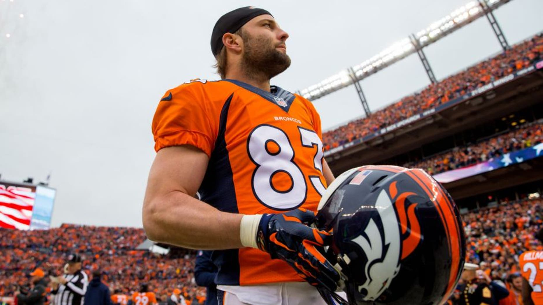Jan 11, 2015; Denver, CO, USA; Denver Broncos wide receiver Wes Welker (83) against the Indianapolis Colts in the 2014 AFC Divisional playoff football game at Sports Authority Field at Mile High. The Colts defeated the Broncos 24-13. Mandatory Credit: Mark J. Rebilas-USA TODAY Sports