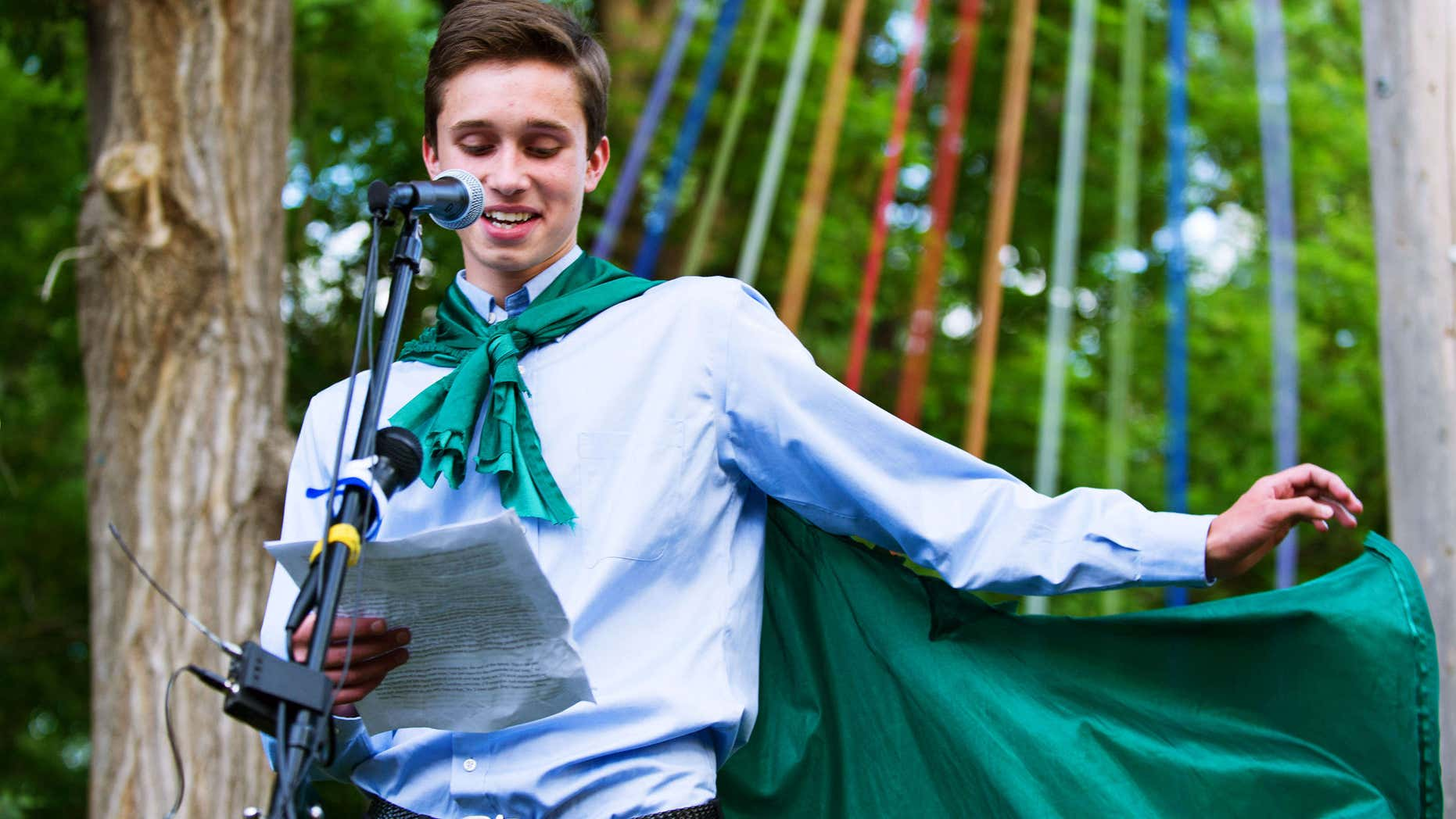 May 31, 2015: Twin Peak Charter School senior Evan Young reads his valedictorian speech.