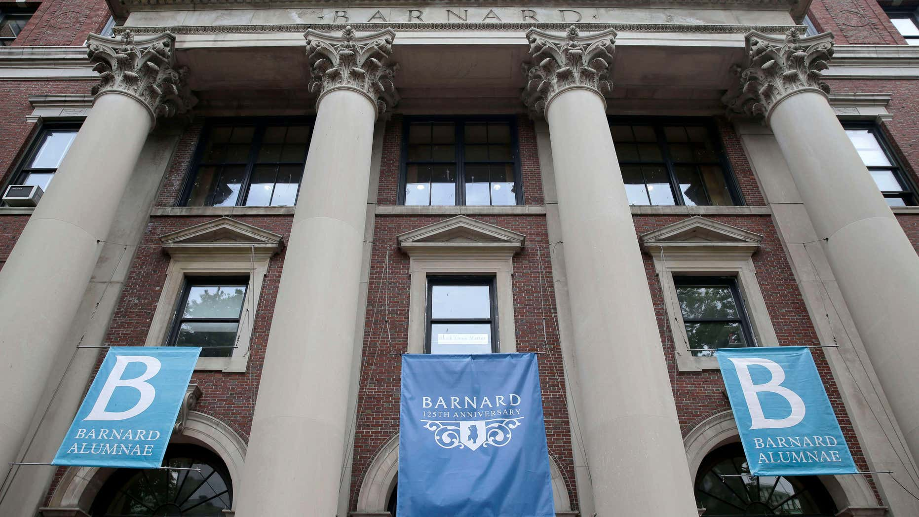 May 28, 2015: Banners hang from a building at Barnard College in New York.