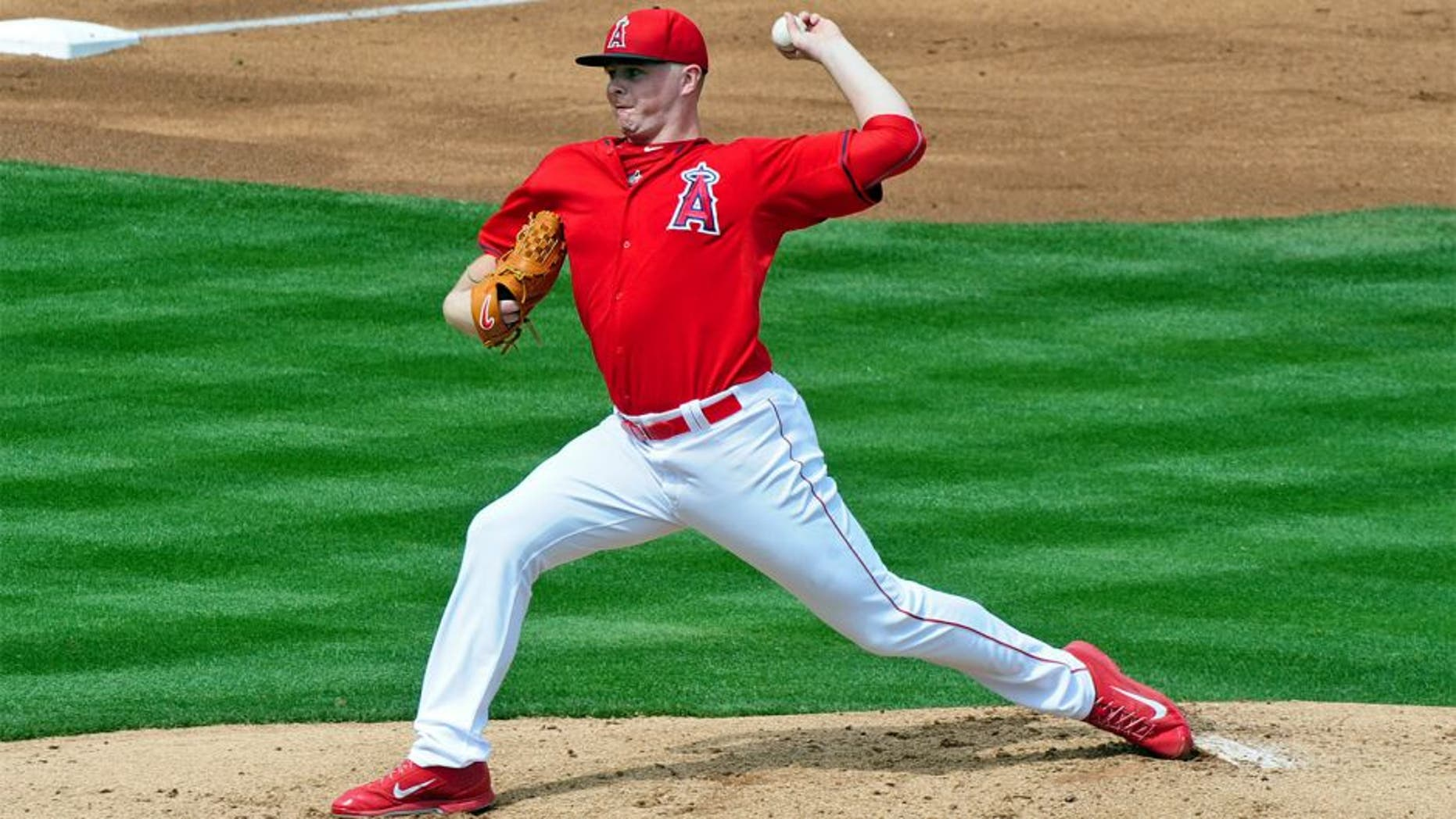 Mar 12, 2015; Tempe, AZ, USA; Los Angeles Angels starting pitcher Sean Newcomb (86) throws in the first inning against the Chicago Cubs at Tempe Diablo Stadium. Mandatory Credit: Matt Kartozian-USA TODAY Sports