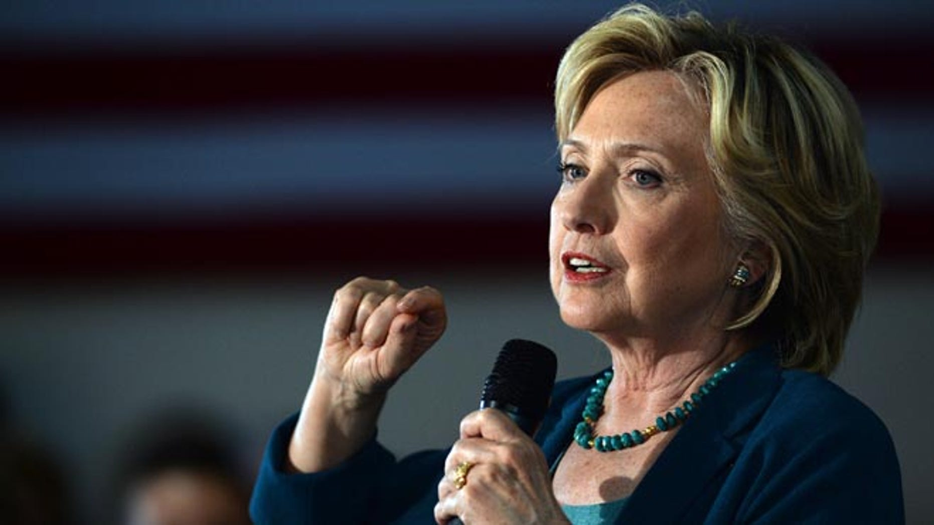 LACONIA, NH - SEPTEMBER 17: Democratic Presidential candidate Hillary Clinton speaks during a community forum on substance abuse September 17, 2015 in Laconia, New Hampshire. Clinton  spent the day campaigning and spoke at on substance abuse. (Photo by Darren McCollester/Getty Images)