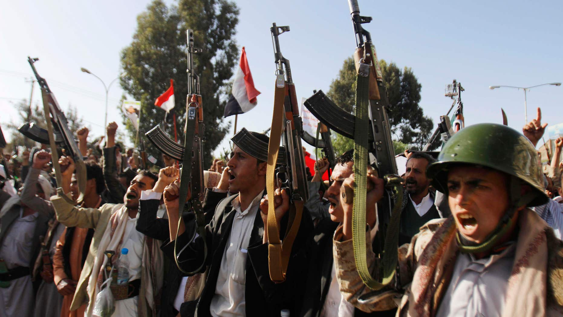 April 16, 2015: Shiite rebels, known as Houthis, chant slogans during a demonstration against an arms embargo imposed by the U.N. Security Council on Houthi leaders, in Sanaa, Yemen.