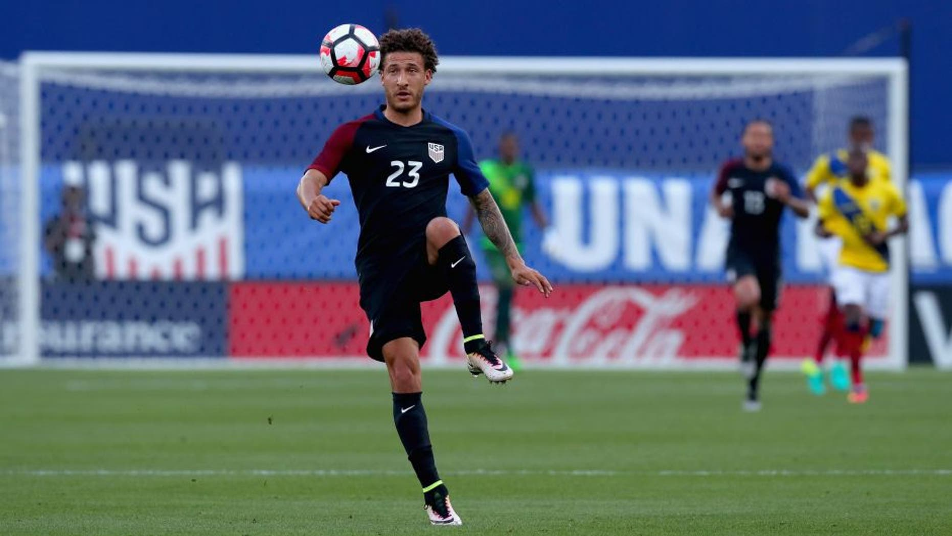 FRISCO, TX - MAY 25: Fabian Johnson #23 of the United States controls the ball against Ecuador during an International Friendly match at Toyota Stadium on May 25, 2016 in Frisco, Texas. (Photo by Tom Pennington/Getty Images)