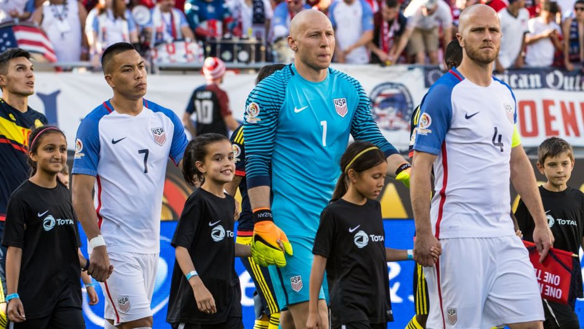 SANTA CLARA, CA - JUNE 3: Michael Bradley #4 of United States leads the team on to the field for the Copa America Centenario Group A match between the United States and Columbia at Levi's Stadium on June 3, 2016 in Santa Clara, California. Colombia won the match 2-0 (Photo by Shaun Clark/Getty Images)