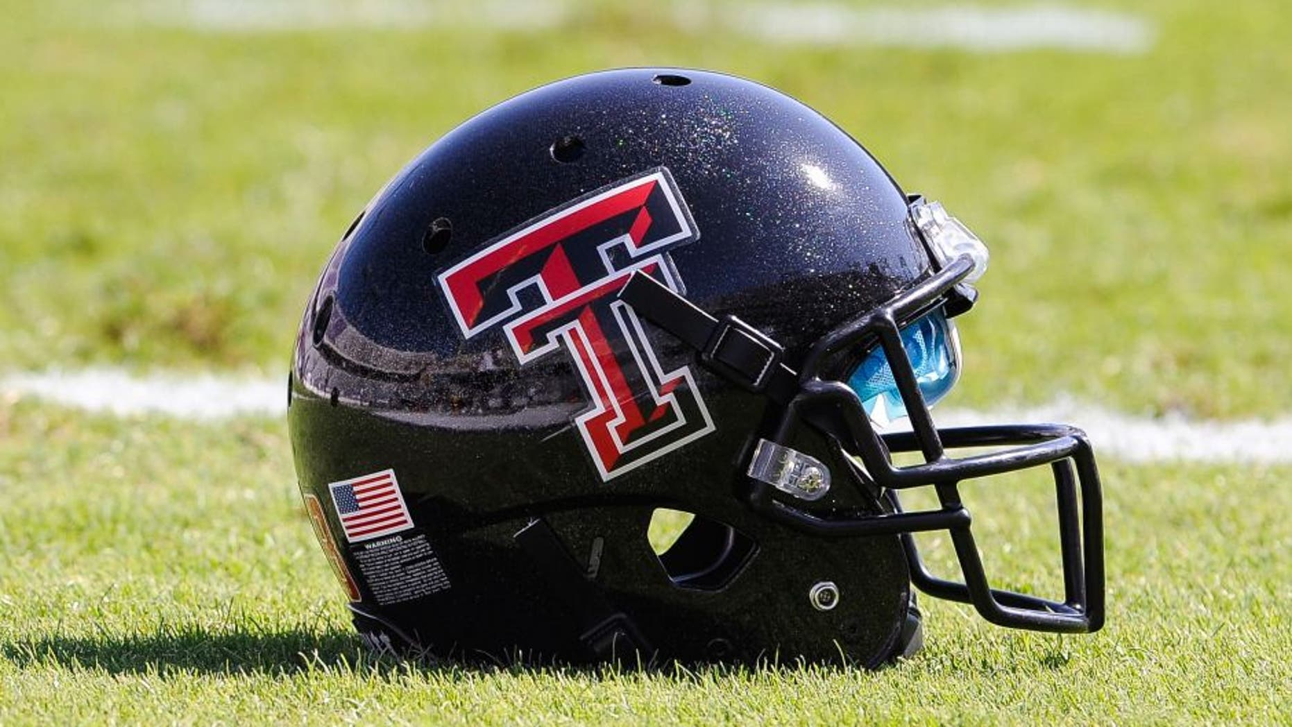 Oct 20, 2012; Fort Worth, TX, USA; A view of a Texas Tech Red Raiders helmet before the game between the Red Raiders and the TCU Horned Frogs at Amon G. Carter Stadium. The Red Raiders defeated the Horned Frogs 56-53 in overtime. Mandatory Credit: Jerome Miron-USA TODAY Sports