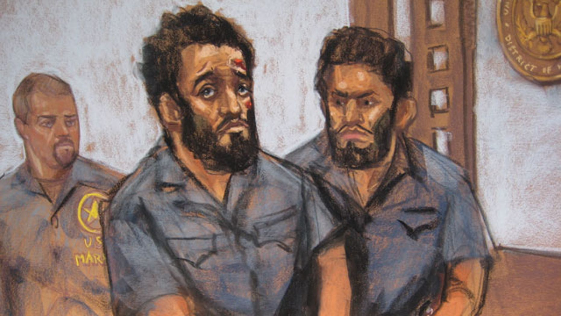 A courtroom sketch of Mohamed Mahmood Alessa, 20, and Carlos Eduardo Almonte, 24, who appeared in federal court Monday in Newark, N.J. The two face charges of conspiring to kill, maim and kidnap persons outside the United States by joining terrorist group al-Shabab.