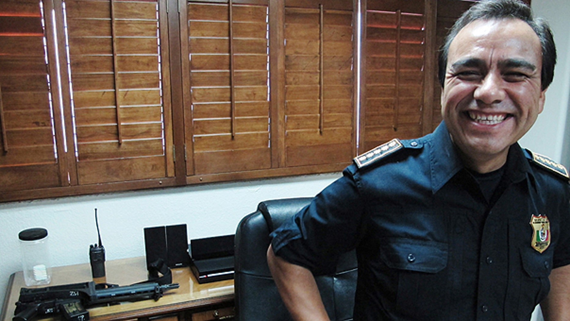 June 7: Julian Leyzaola, police chief of Juarez, smiles during an interview with foreign media in his office in Juarez, Mexico.