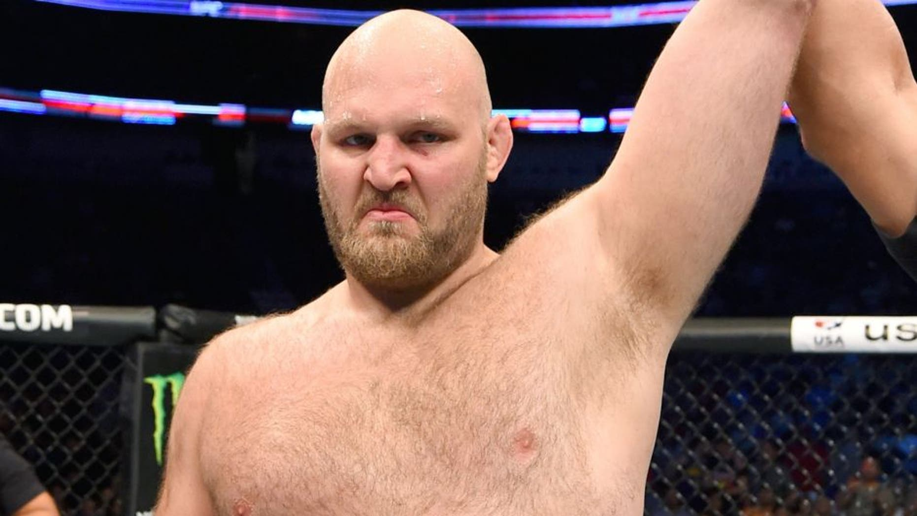 NEW ORLEANS, LA - JUNE 06: Ben Rothwell celebrates his submission victory over Matt Mitrione in their heavyweight bout during the UFC event at the Smoothie King Center on June 6, 2015 in New Orleans, Louisiana. (Photo by Josh Hedges/Zuffa LLC/Zuffa LLC via Getty Images)