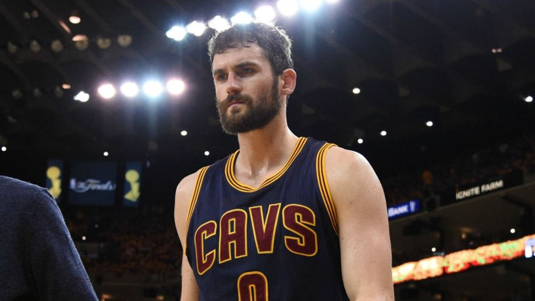Jun 5, 2016; Oakland, CA, USA; Cleveland Cavaliers forward Kevin Love (0) leaves the bench during the third quarter against the Golden State Warriors in game two of the NBA Finals at Oracle Arena. Mandatory Credit: Kyle Terada-USA TODAY Sports