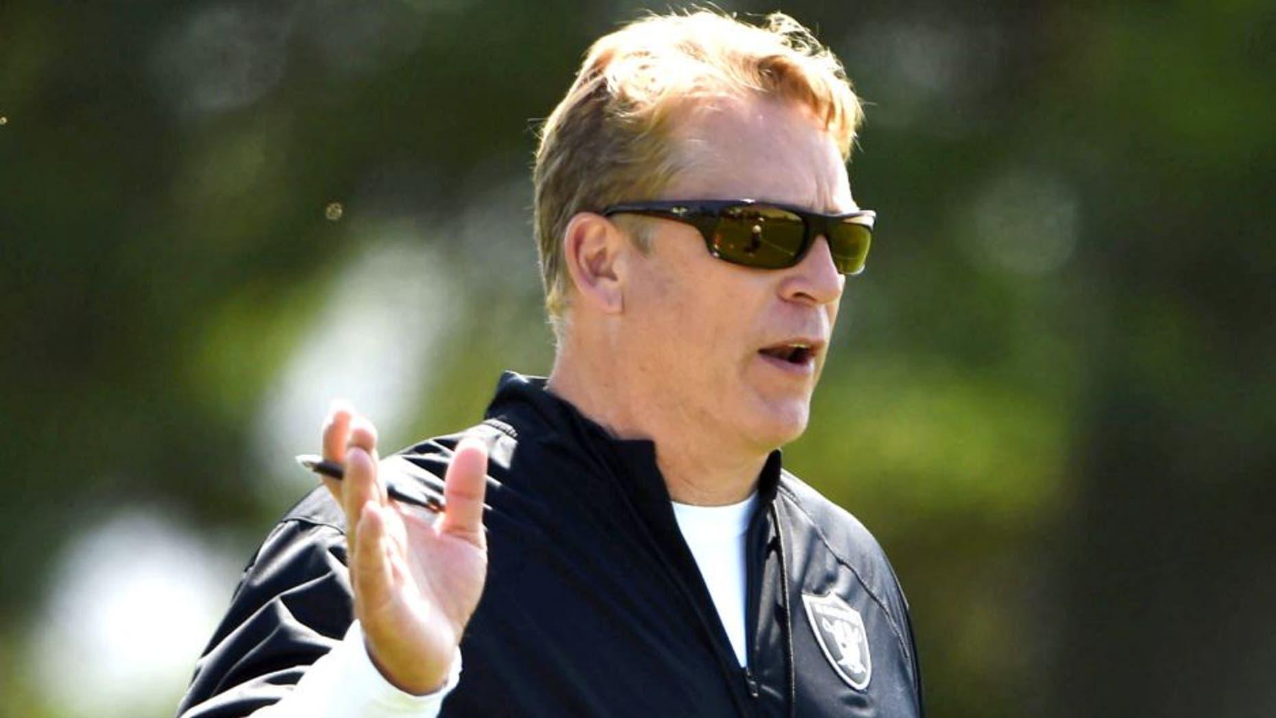 May 8, 2015; Alameda, CA, USA; Oakland Raiders coach Jack Del Rio at rookie minicamp at the Raiders practice facility. Mandatory Credit: Kirby Lee-USA TODAY Sports
