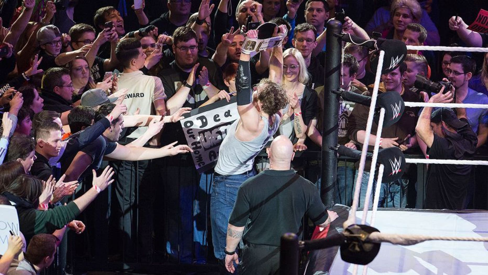 COLOGNE, GERMANY - FEBRUARY 11: Dean Ambrose during WWE Road to WrestleMania at the Lanxess Arena on February 11, 2016 in Cologne, Germany. (Photo by Marc Pfitzenreuter/Getty Images)