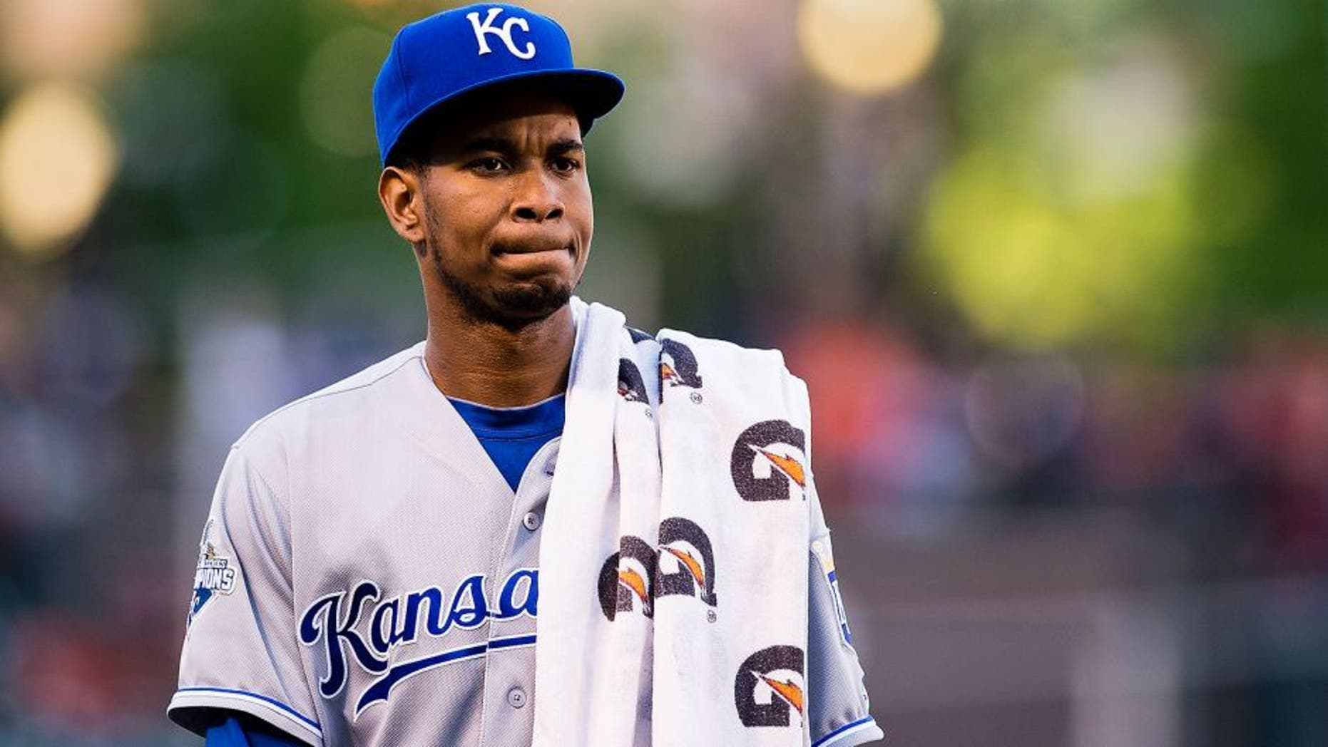 BALTIMORE, MD - JUNE 07: Yordano Ventura #30 of the Kansas City Royals walks from the bullpin to the dugout after warming up prior to the start of a MLB baseball game against the Baltimore Orioles at Oriole Park at Camden Yards on June 7, 2016 in Baltimore, Maryland. (Photo by Patrick McDermott/Getty Images)