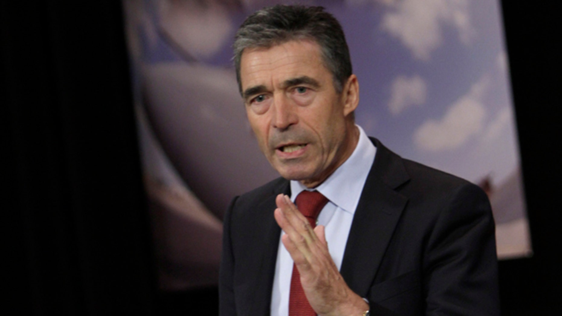 June 9: NATO Secretary-General Anders Fogh Rasmussen speaks during a media conference after a meeting of NATO defense ministers at NATO headquarters in Brussels.