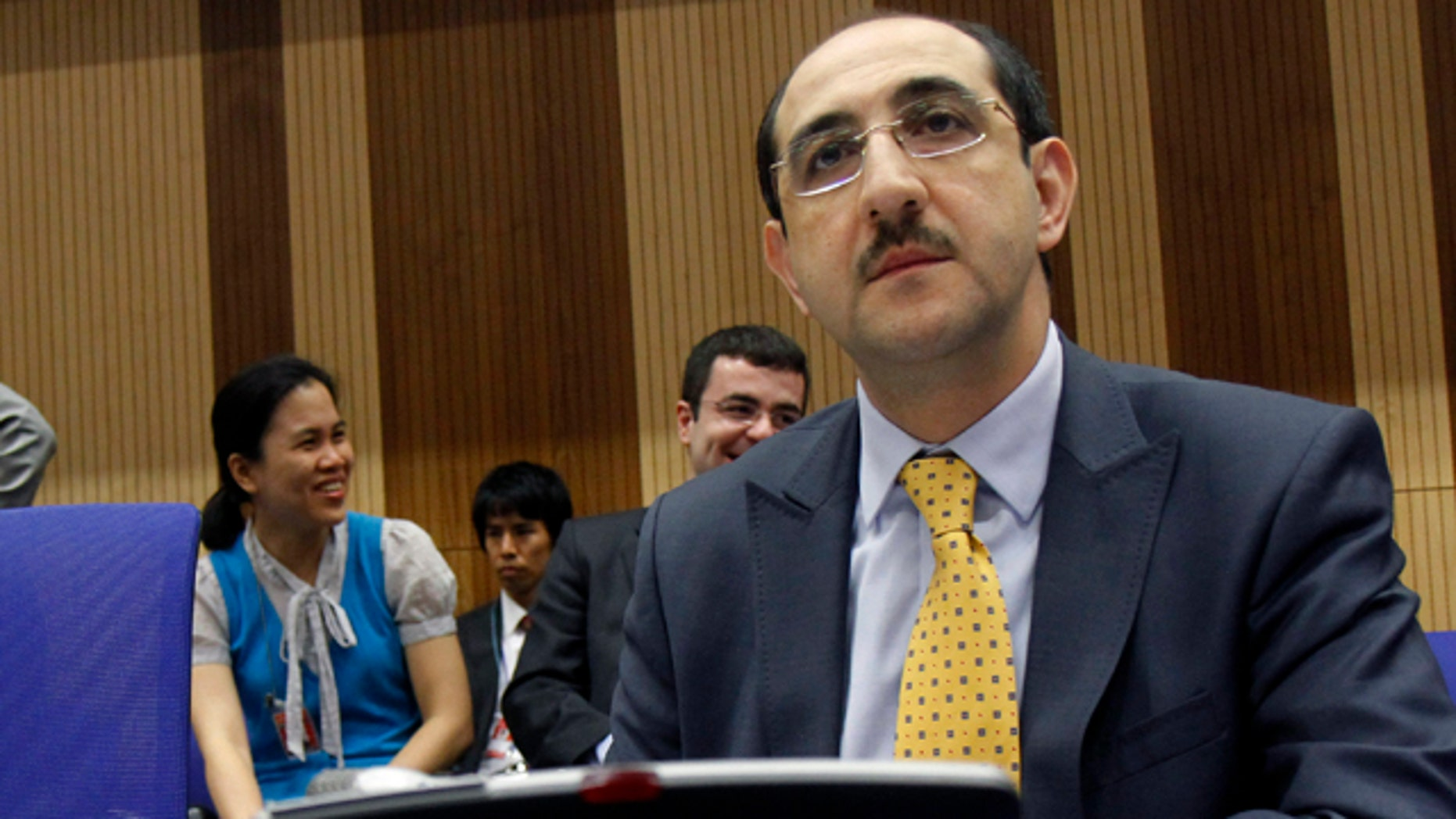 June 6: Syria's ambassador to Austria, Bassam al-Sabbagh, waits for the start of  the board of governors meeting of the International Atomic Energy Agency, IAEA, at the International Center, in Vienna, Austria.