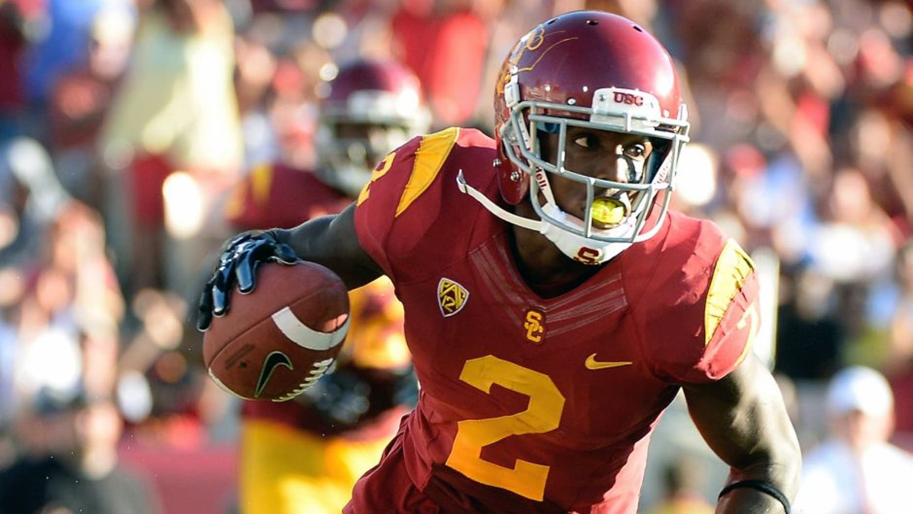 LOS ANGELES, CA - AUGUST 30: Adoree' Jackson #2 of the USC Trojans reacts after his touchodwn to take a 31-7 lead over the Fresno State Bulldogs during the second quarter at Los Angeles Memorial Coliseum on August 30, 2014 in Los Angeles, California. (Photo by Harry How/Getty Images) *** Local Caption *** Adoree' Jackson