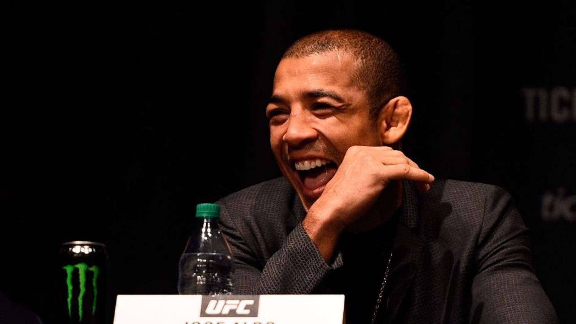 NEW YORK, NY - APRIL 27: Jose Aldo of Brazil interacts with fans and media during the UFC 200 New York press event at Madison Square Garden on April 27, 2016 in New York City. (Photo by Jeff Bottari/Zuffa LLC/Zuffa LLC via Getty Images)