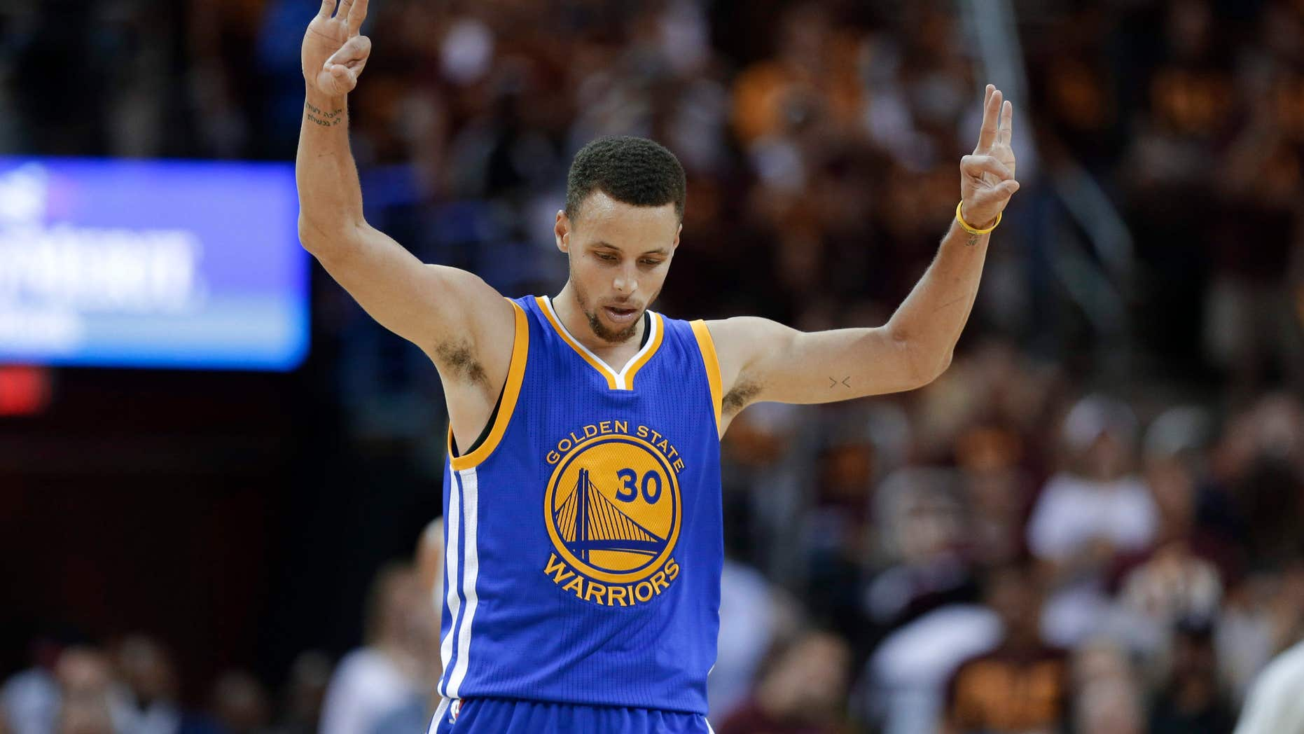 June 10, 2016: Golden State Warriors guard Stephen Curry celebrates a basket against the Cleveland Cavaliers during the second half of Game 4 of basketball's NBA Finals in Cleveland.