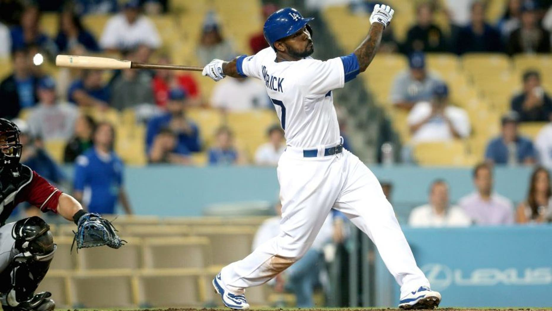 LOS ANGELES, CA - JUNE 10: Howie Kendrick #47 of the Los Angeles Dodgers hits a walk off single in the ninth inning against the Arizona Diamondbacks at Dodger Stadium on June 10, 2015 in Los Angeles, California. The Dodgers won 7-6. (Photo by Stephen Dunn/Getty Images)