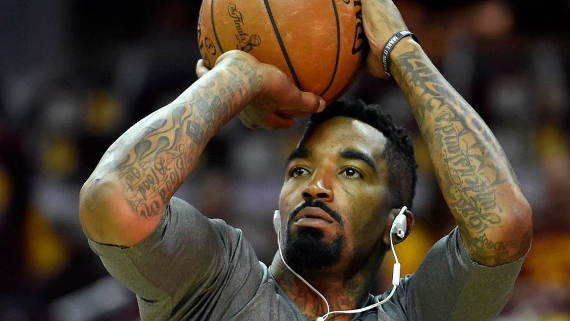 uJun 9, 2015; Cleveland, OH, USA; Cleveland Cavaliers guard J.R. Smith (5) warms up before game three of the NBA Finals against the Golden State Warriors at Quicken Loans Arena. Mandatory Credit: Bob Donnan-USA TODAY Sports