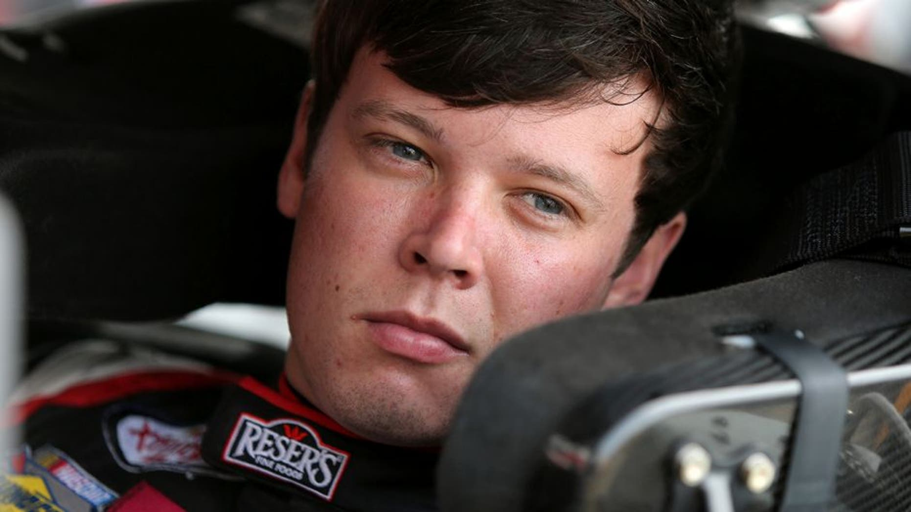 BROOKLYN, MI - JUNE 10: Erik Jones, driver of the #20 Reser's Fine Foods Toyota, sits in his car during practice for the NASCAR XFINITY Series Menards 250 at Michigan International Speedway on June 10, 2016 in Brooklyn, Michigan. (Photo by Jerry Markland/Getty Images )
