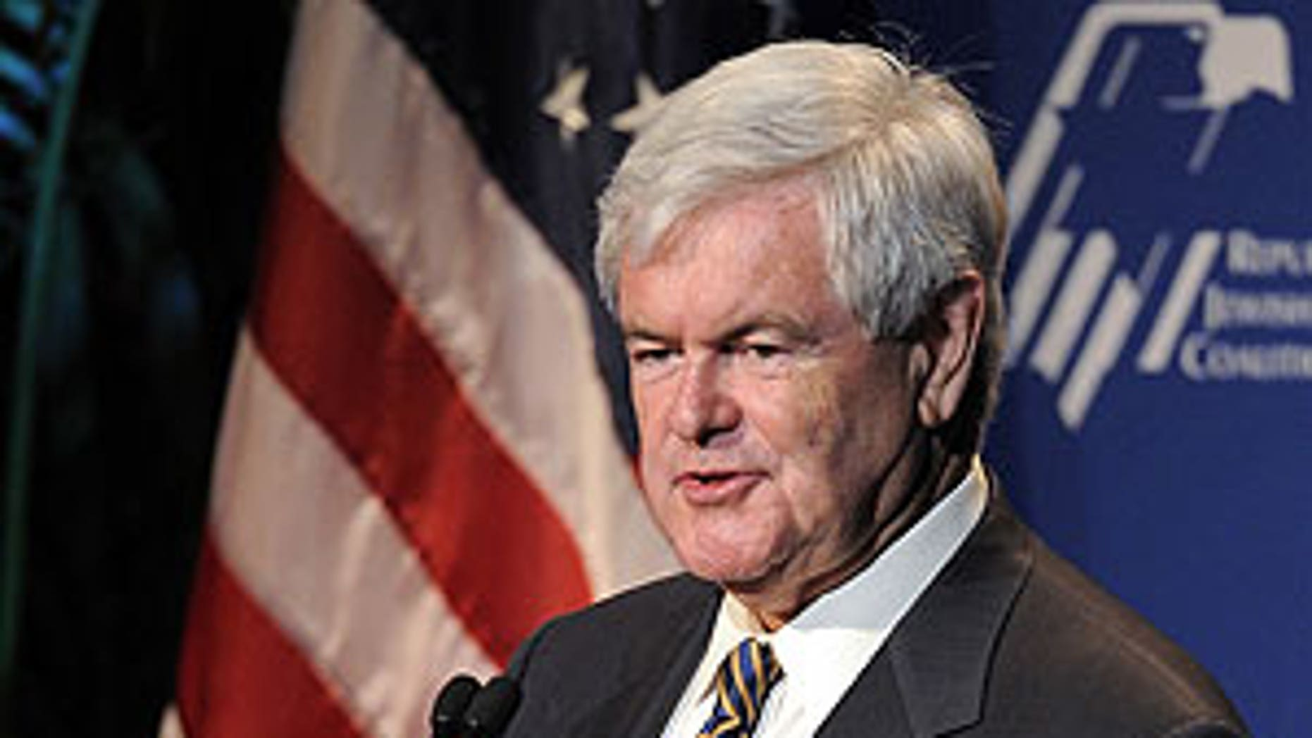 Newt Gingrich speaks to the Republican Jewish Coalition in Los Angeles