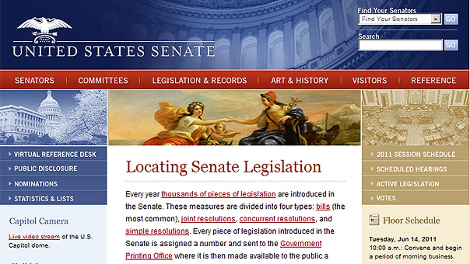This screengrab shows the homepage of www.senate.gov, the U.S. Senate's website.