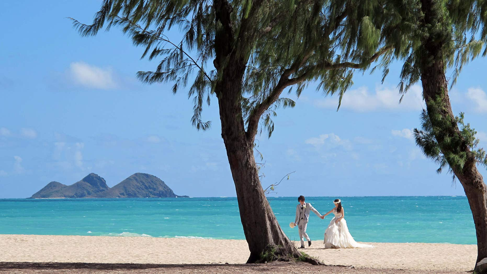 June 10, 2015: A couple from Japan takes wedding photos at Waimanalo Bay Beach Park.
