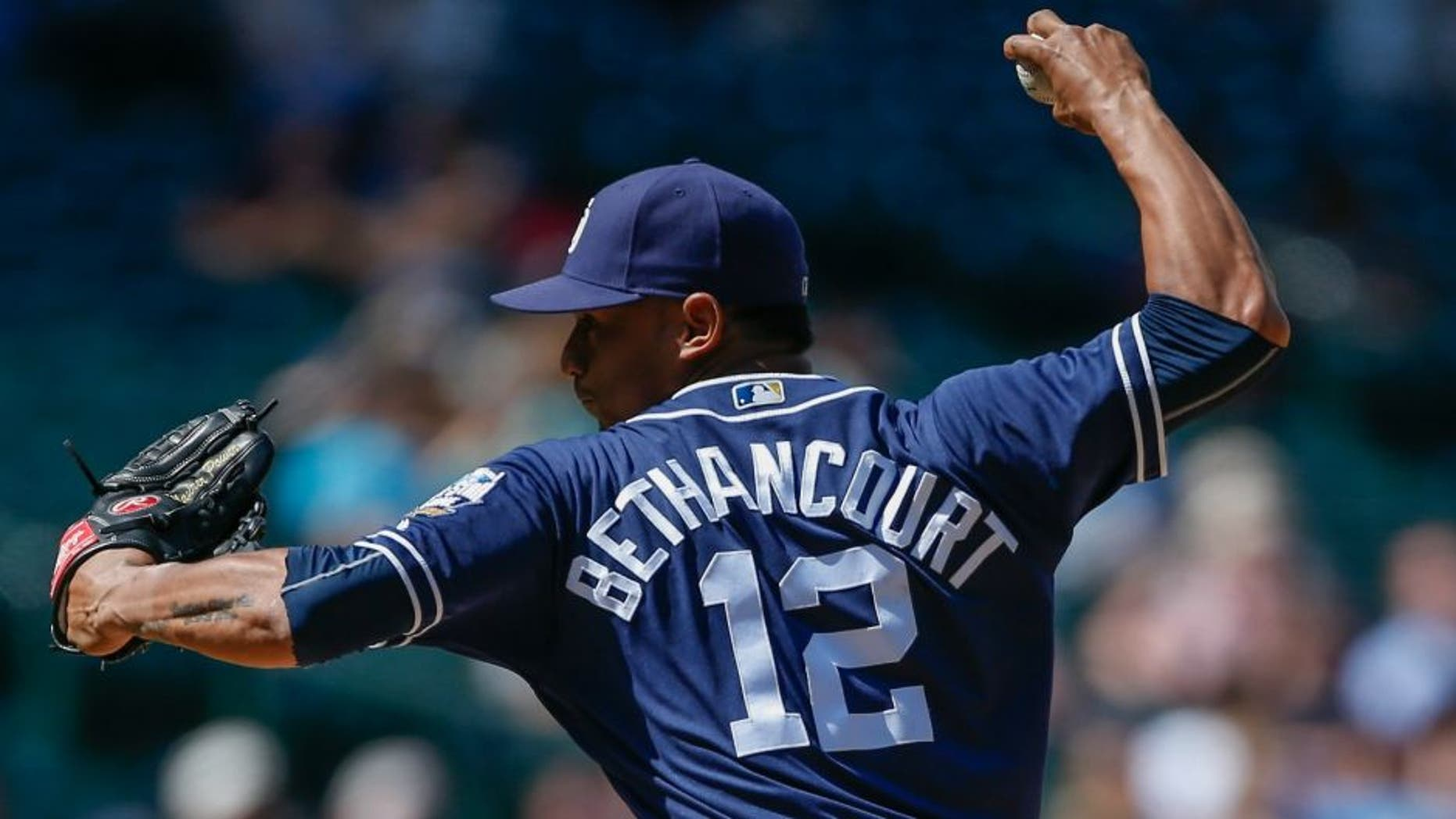 SEATTLE, WA - MAY 31: Starting catcher Christian Bethancourt #12 of the San Diego Padres makes an appearance as a relief pitcher against the Seattle Mariners in the eighth inning at Safeco Field on May 31, 2016 in Seattle, Washington. (Photo by Otto Greule Jr/Getty Images) *** Local Caption *** Christian Bethancourt,SEATTLE, WA - MAY 31: Starting catcher Christian Bethancourt #12 of the San Diego Padres makes an appearance as a relief pitcher against the Seattle Mariners in the eighth inning at Safeco Field on May 31, 2016 in Seattle, Washington. (Photo by Otto Greule Jr/Getty Images)