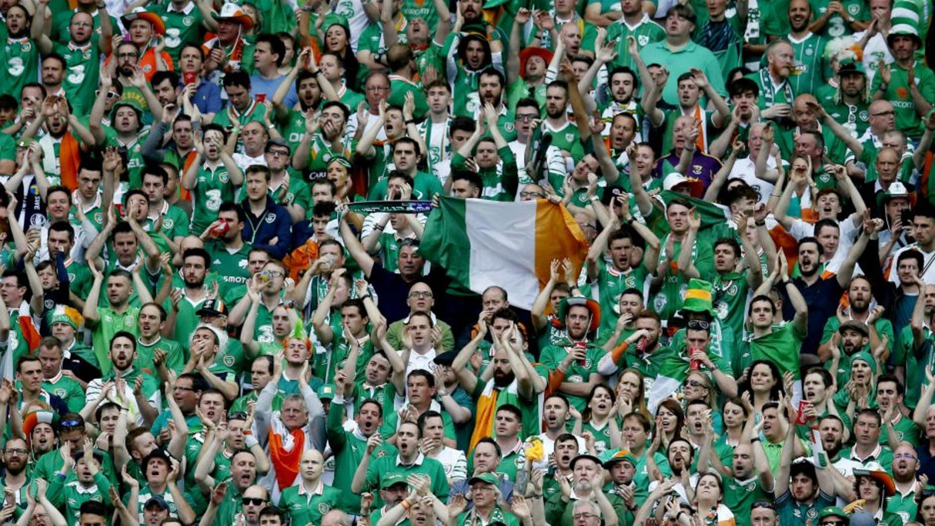 fans of Ireland during the UEFA EURO 2016 Group E group stage match between Republic of Ireland and Sweden at the Stade de France on june 13, 2016 in Paris, France.(Photo by VI Images via Getty Images)