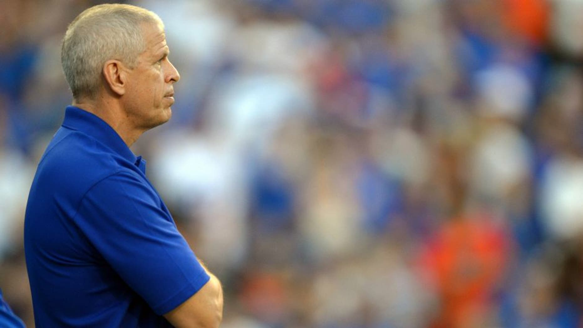 Oct 6, 2012; Gainesville, FL, USA; Florida Gators atheletic director Jeremy Foley during the fourth quarter against the LSU Tigers at Ben Hill Griffin Stadium. Mandatory Credit: Jake Roth-USA TODAY Sports