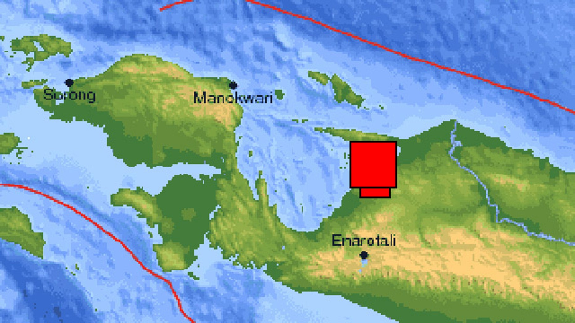 USGS map shows the epicenter of the earthquake near the northern coast of Indonesia