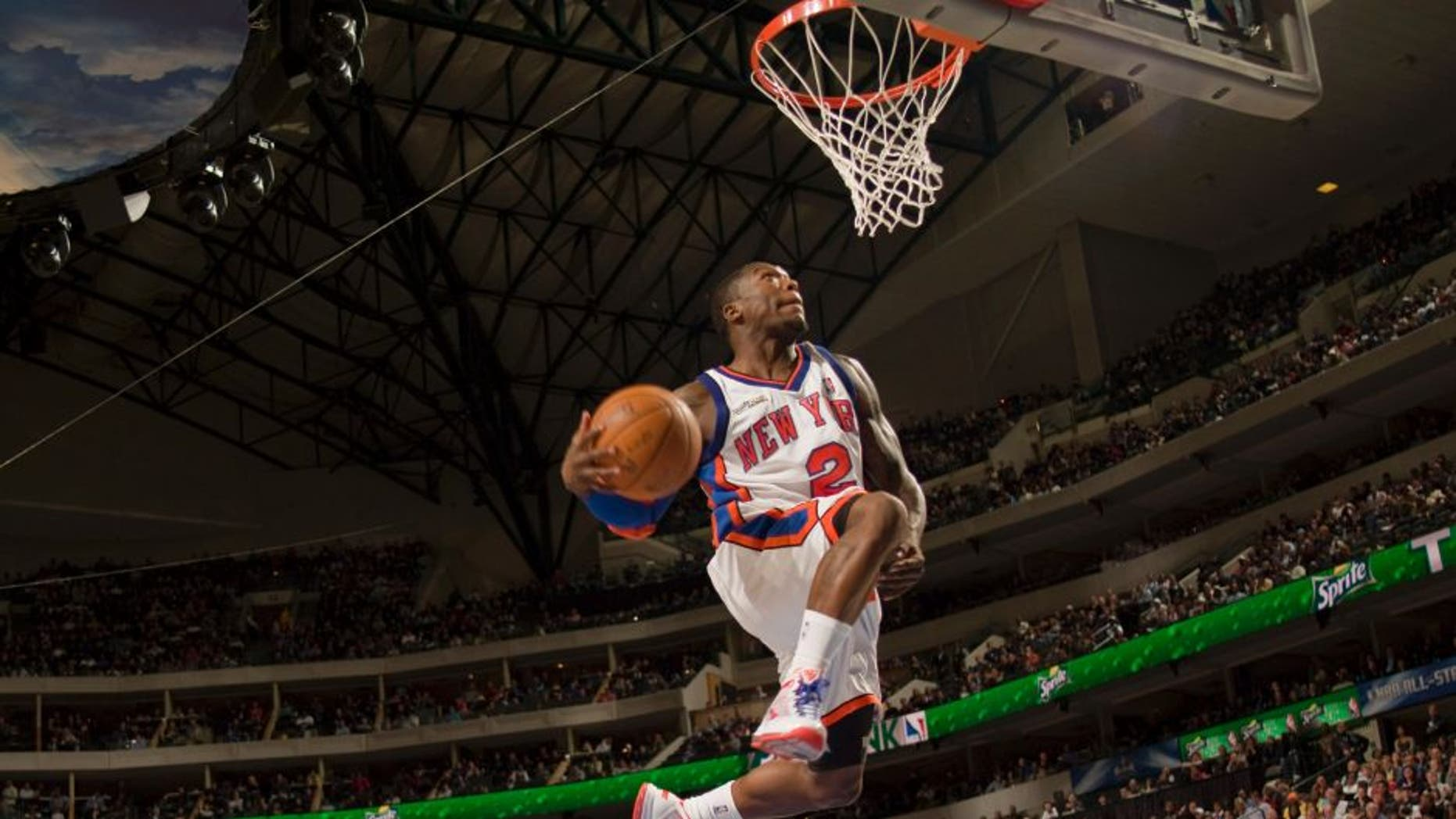 DALLAS - FEBRUARY 13: Nate Robinson #2 of the New York Knicks dunks during the Sprite Slam Dunk Contest on All-Star Saturday Night as part of the 2010 NBA All-Star Weekend at the American Airlines Center on February 13, 2010 in Dallas, Texas. NOTE TO USER: User expressly acknowledges and agrees that, by downloading and or using this photograph, User is consenting to the terms and conditions of the Getty Images License Agreement. Mandatory Copyright Notice: Copyright 2010 NBAE (Photo by Glenn James/NBAE via Getty Images)