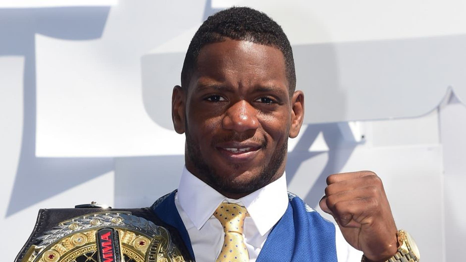 Mixed martial artist Will Brooks poses on arrival for the 2015 MTV Movie Awards on April 12, 2015 in Los Angeles, California. AFP PHOTO / FREDERIC J. BROWN (Photo credit should read FREDERIC J. BROWN/AFP/Getty Images)