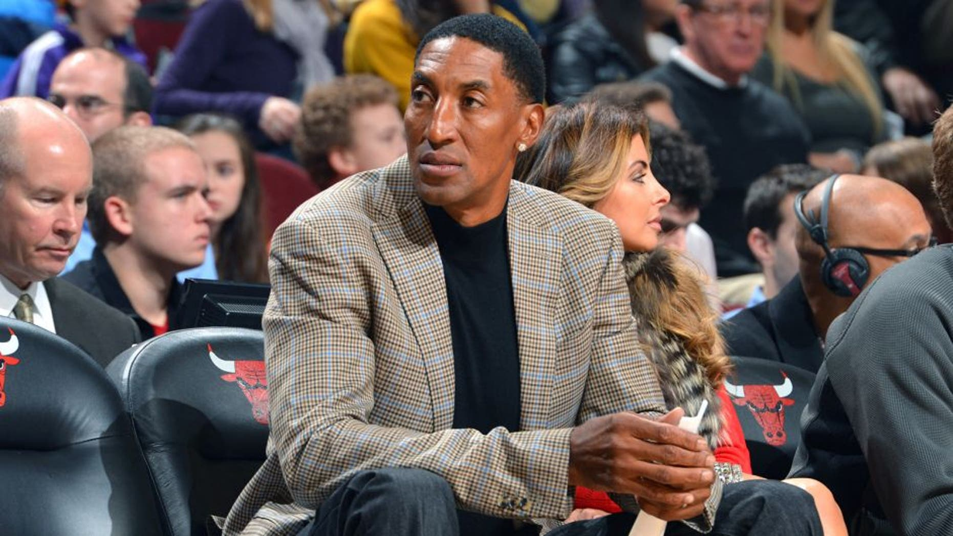 CHICAGO, IL - JANUARY 20: NBA Legend Scottie Pippen in attendance for the game between the Chicago Bulls and the Los Angeles Lakers on January 20, 2014 at the United Center in Chicago, Illinois. NOTE TO USER: User expressly acknowledges and agrees that, by downloading and/or using this photograph, user is consenting to the terms and conditions of the Getty Images License Agreement. Mandatory Copyright Notice: Copyright 2014 NBAE (Photo by Jesse D. Garrabrant/NBAE via Getty Images)