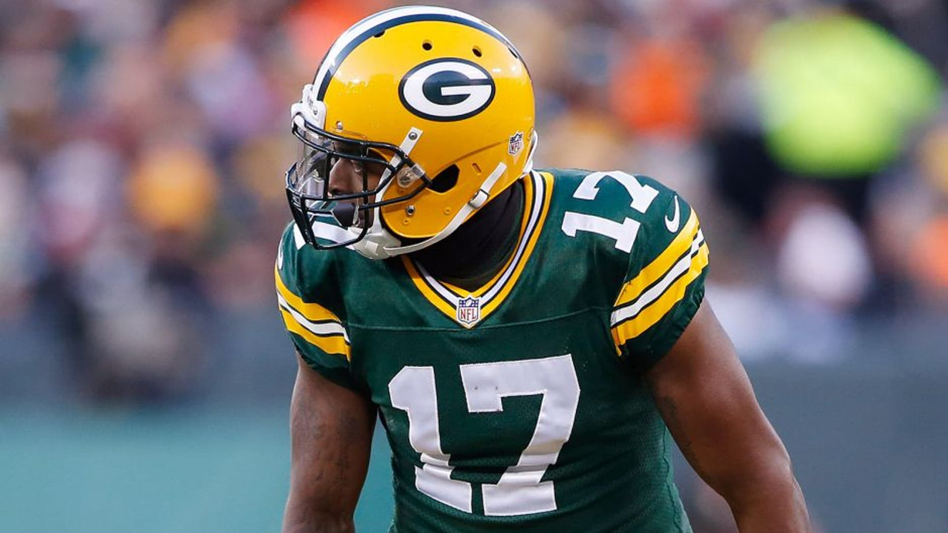 Nov 30, 2014; Green Bay, WI, USA; Green Bay Packers wide receiver Davante Adams (17) during the game against the New England Patriots at Lambeau Field. Mandatory Credit: Chris Humphreys-USA TODAY Sports