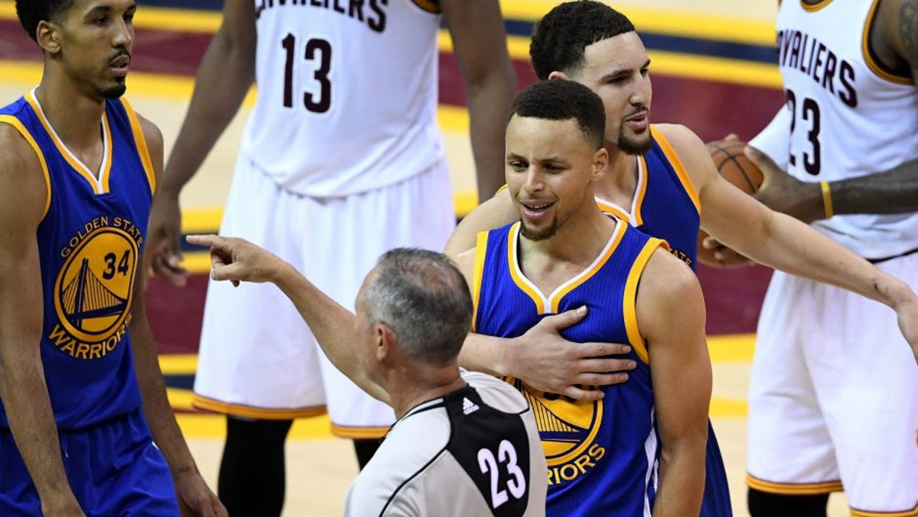 CLEVELAND, OH - JUNE 16: Stephen Curry #30 of the Golden State Warriors reacts as he is ejected from the game during the fourth quarter against the Cleveland Cavaliers in Game 6 of the 2016 NBA Finals at Quicken Loans Arena on June 16, 2016 in Cleveland, Ohio. NOTE TO USER: User expressly acknowledges and agrees that, by downloading and or using this photograph, User is consenting to the terms and conditions of the Getty Images License Agreement. (Photo by Jason Miller/Getty Images)