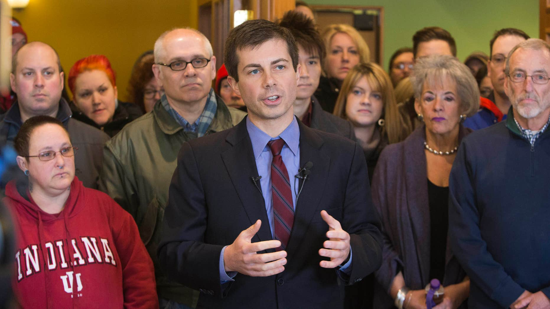 March 27, 2015: South Bend Mayor Pete Buttigieg speaks about the area's opposition to the recently signed religious freedom legislation in downtown South Bend.