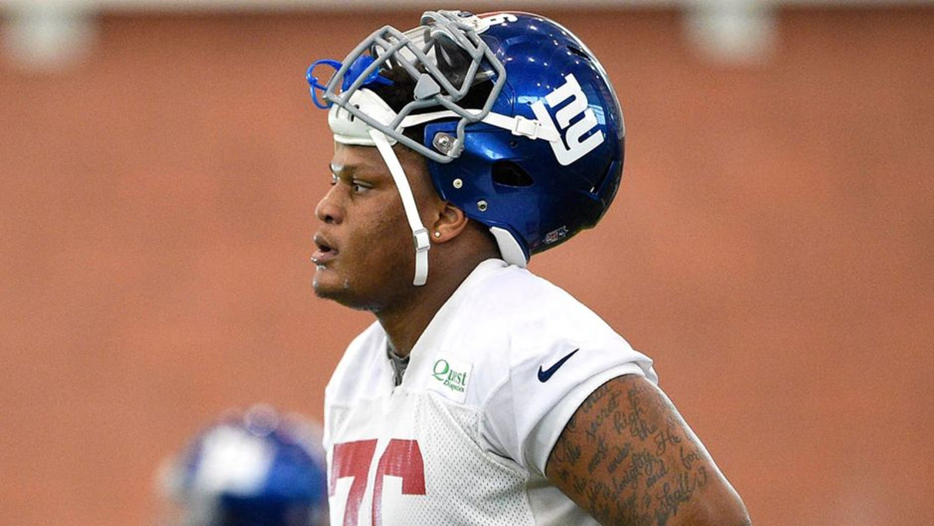 Jun 16, 2015; East Rutherford, NJ, USA; New York Giants tackle Ereck Flowers (76) takes part in practice during minicamp at Quest Diagnostics Training Center. Mandatory Credit: Steven Ryan-USA TODAY Sports