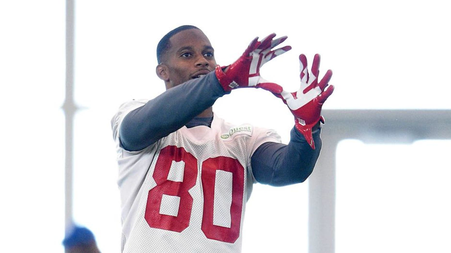Jun 16, 2015; East Rutherford, NJ, USA; New York Giants wide receiver Victor Cruz (80) catches a ball during minicamp at Quest Diagnostics Training Center. Mandatory Credit: Steven Ryan-USA TODAY Sports